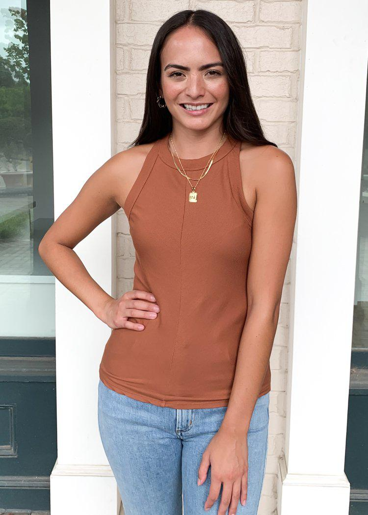 Stateside Ribbed Racerback Tank- Rust-Hand In Pocket