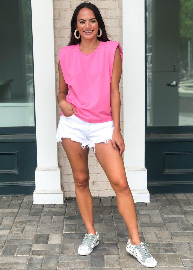 Vida Triangle Tee-Pink-Hand In Pocket
