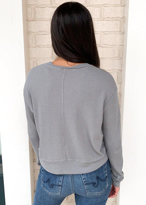 Bobi Essentials Cropped Long Sleeve Thermal-Hand In Pocket