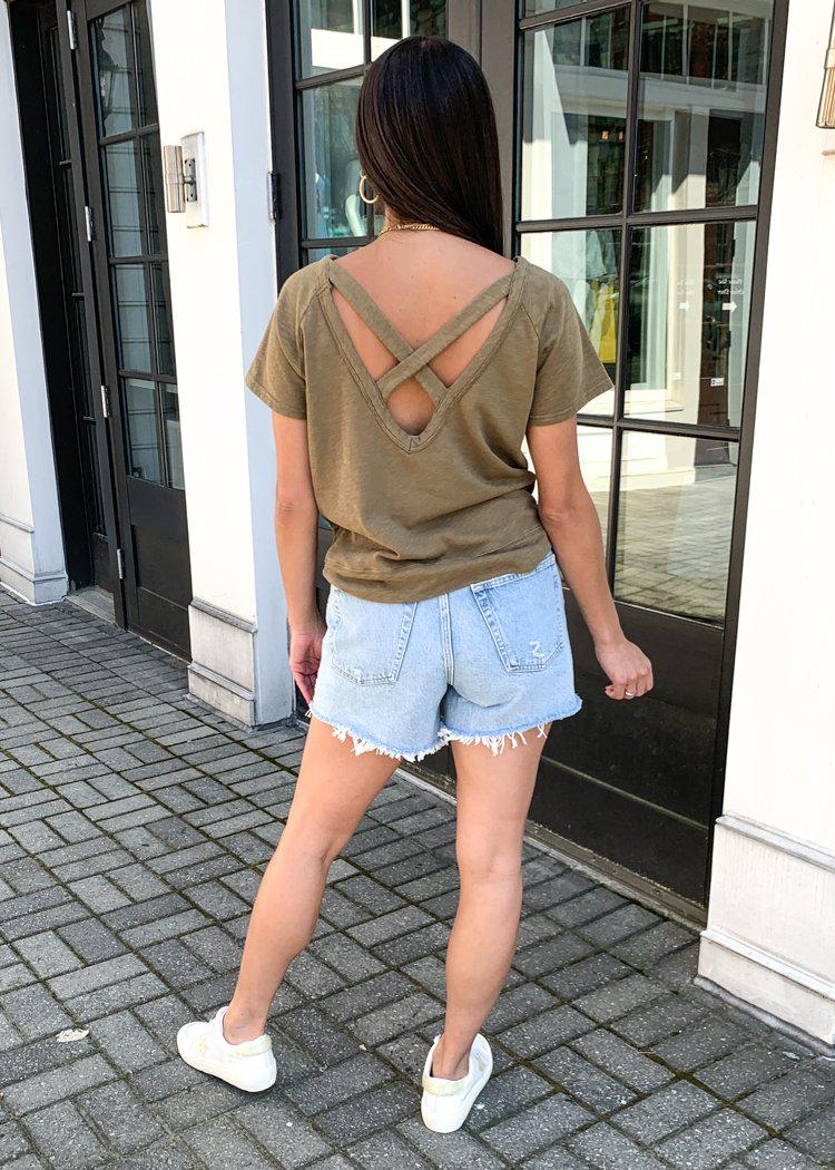 Bobi Criss Cross Back Short Sleeve Tee - Grenade-Hand In Pocket