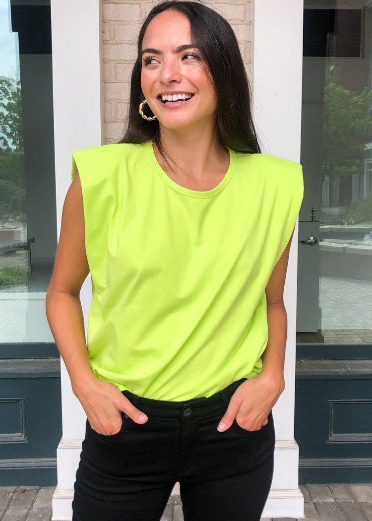Vida Triangle Tee-Neon Yellow-Hand In Pocket