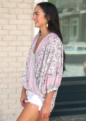 Laurel Canyon Faux Wrap Billow Sleeve Blouse - Lilac Floral-Hand In Pocket