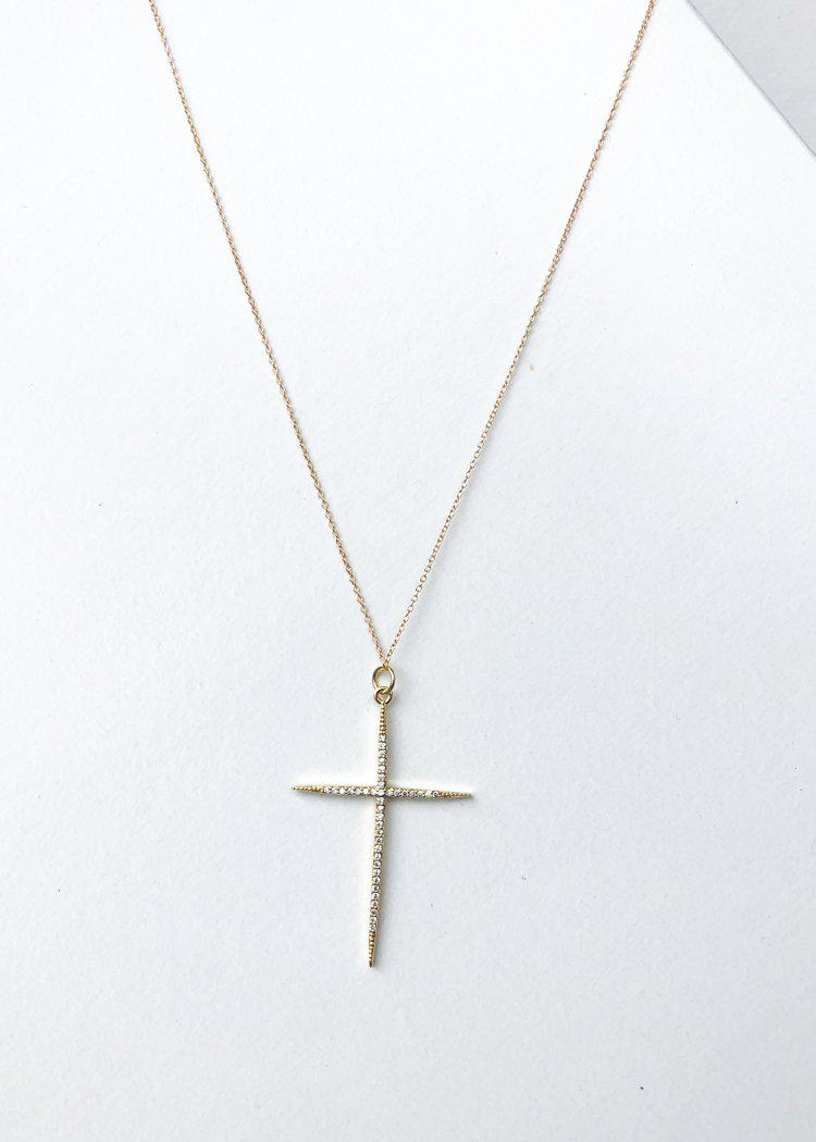 Bracha Everlasting Cross Necklace - Gold-Hand In Pocket