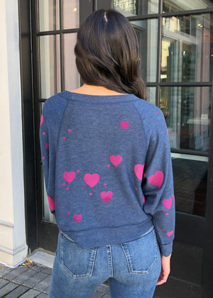 "Chaser ""Plum Hearts"" Sweatshirt-Hand In Pocket"