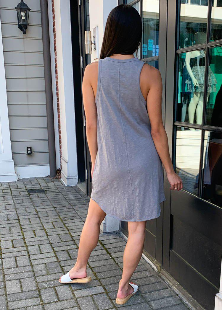 Bobi Scoop Neck Henley Tank Dress - Overcast-Hand In Pocket