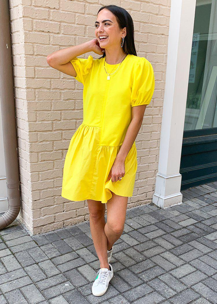 Frances Puff Sleeve Poplin Dress-Lime-Hand In Pocket