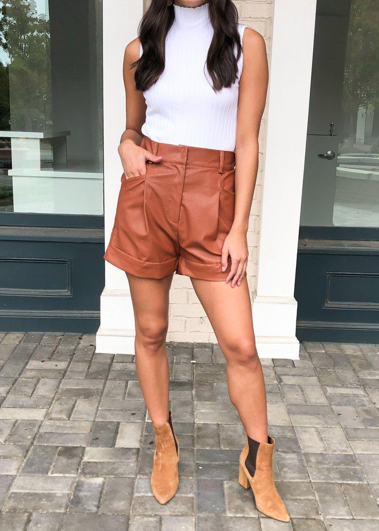 Winterpark Faux Leather Shorts - Camel-Hand In Pocket
