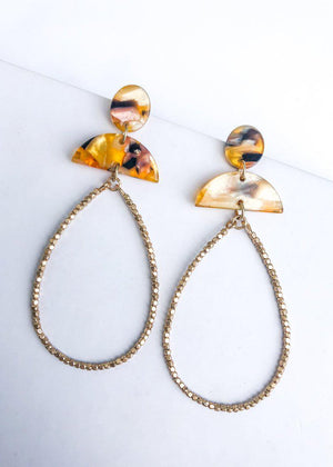 Camden Acrylic Beaded Teardrop Earrings - Tortoise-Hand In Pocket
