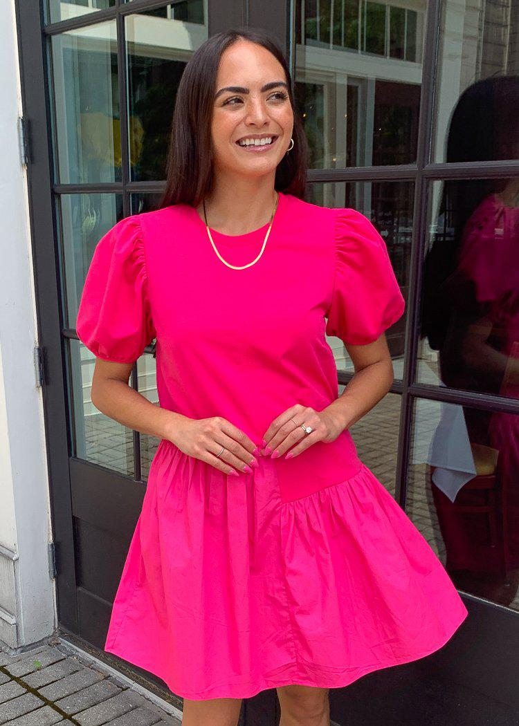 Frances Puff Sleeve Poplin Dress-Fuschia-Hand In Pocket