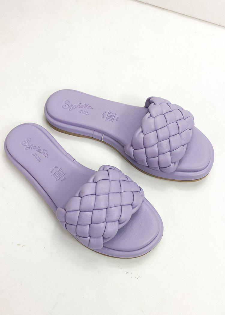 Seychelles Bellissima Puffy Woven Slide Sandal-Lavender-Hand In Pocket