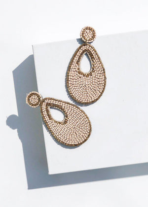 Niantic Beaded Teardrop Drop Earrings - Taupe-Hand In Pocket