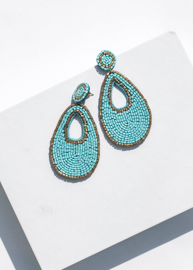 Niantic Beaded Teardrop Drop Earrings - Turquoise-Hand In Pocket