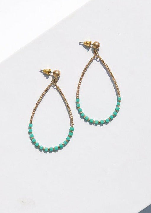 Rockport Beaded Colorful Drop Earrings - Turquoise-Hand In Pocket