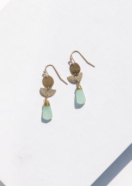 Newport Stone and Metal Drop Earrings-Hand In Pocket