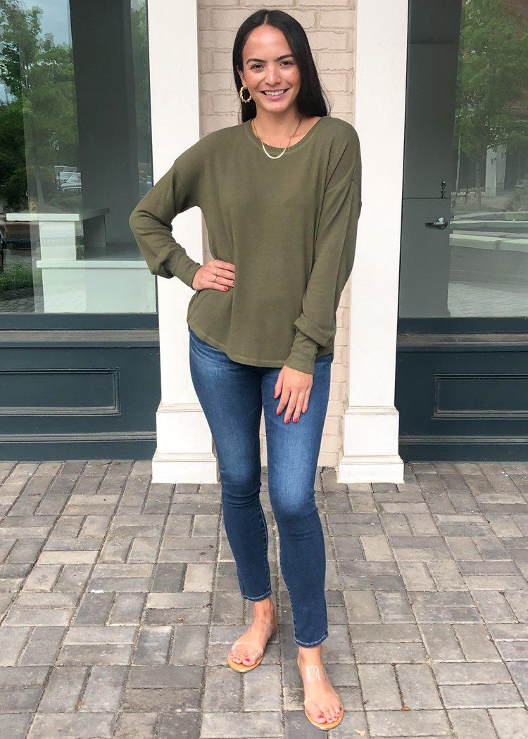 PJ Salvage Peachy in Color Long Sleeve Pullover - Olive-Hand In Pocket
