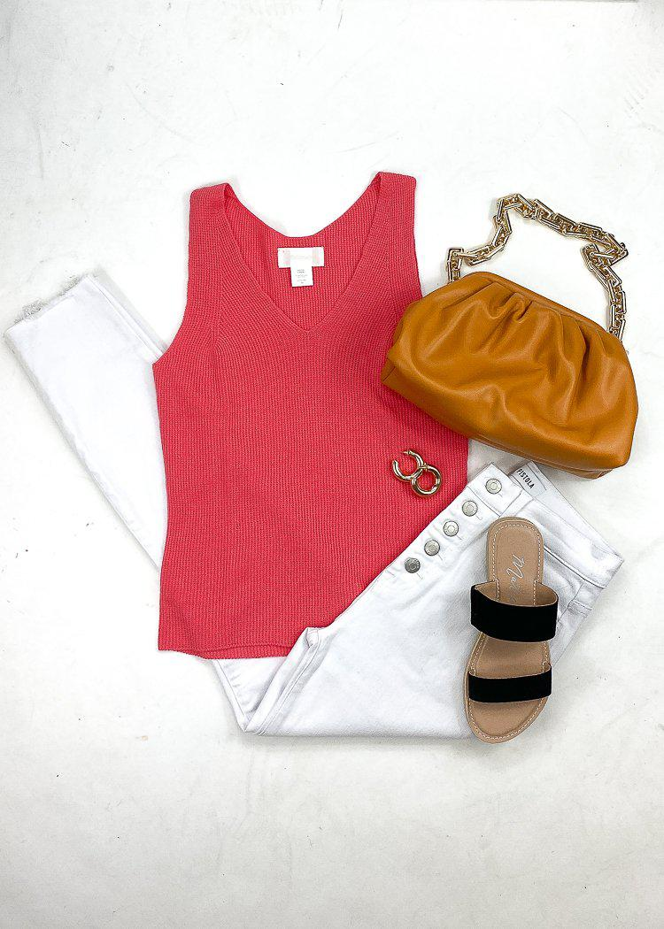 Alex Knit Tank- Coral-Hand In Pocket