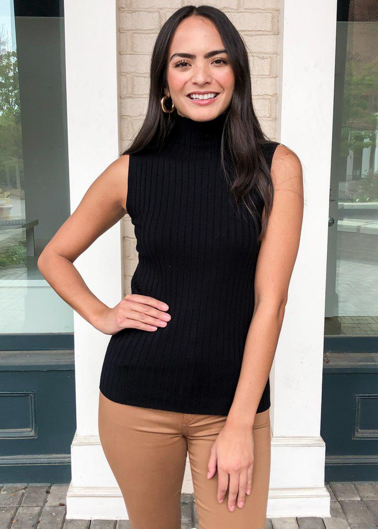 525 America Zoe Mock Neck Sweater Tank-Black-Hand In Pocket