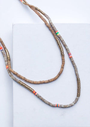 Caswell Beaded Long Layering Necklace - Natural-Hand In Pocket