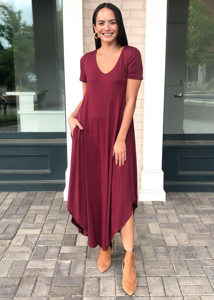 Karlie Hermosa Basic Maxi Dress- Burgundy-Hand In Pocket