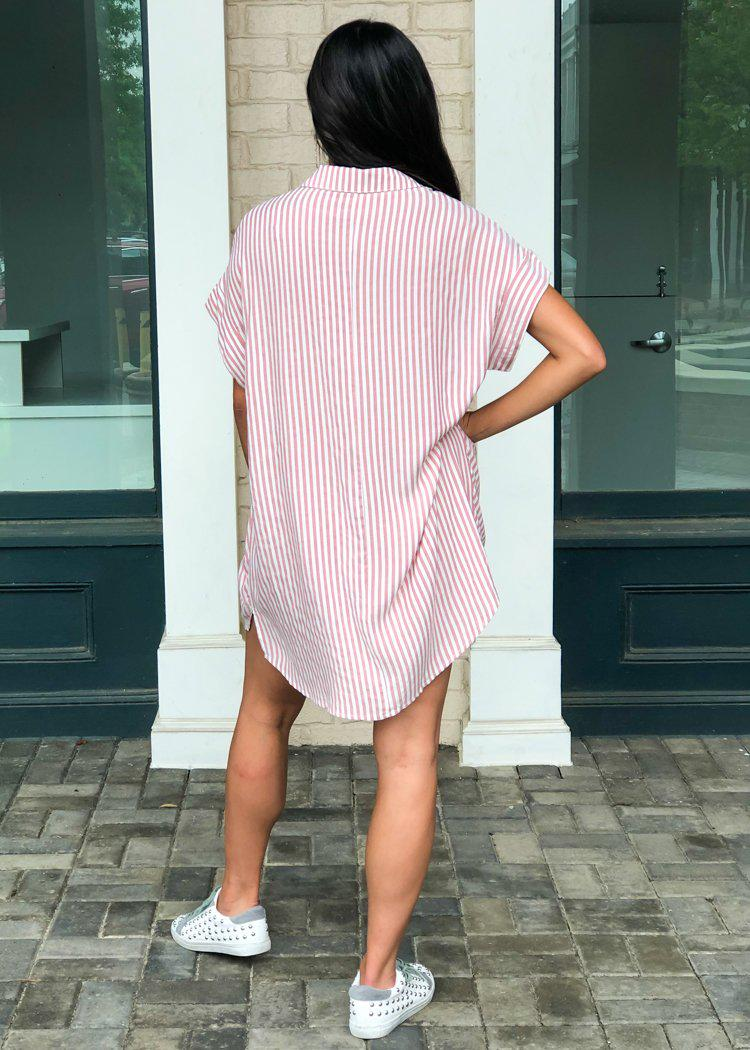 Harper Striped Button Down Tunic/Dress - Mauve-Hand In Pocket
