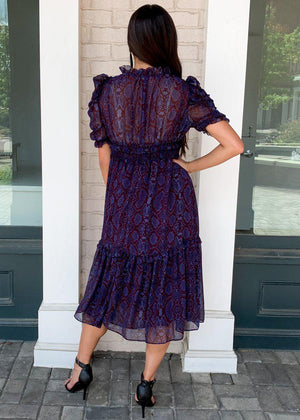"Karlie Timber ""Snake Print"" Puff Sleeve Tiered Midi Dress-***FINAL SALE***-Hand In Pocket"