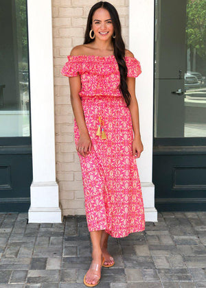 THML Kavati Off Shoulder Ruffle Maxi Dress-Hot Pink-Hand In Pocket