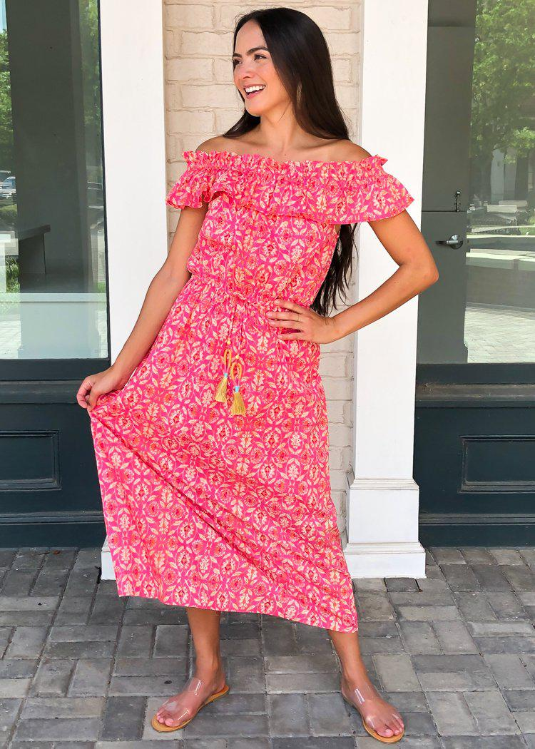 THML Kavati Off Shoulder Ruffle Maxi Dress-Hot Pink-***FINAL SALE***-Hand In Pocket