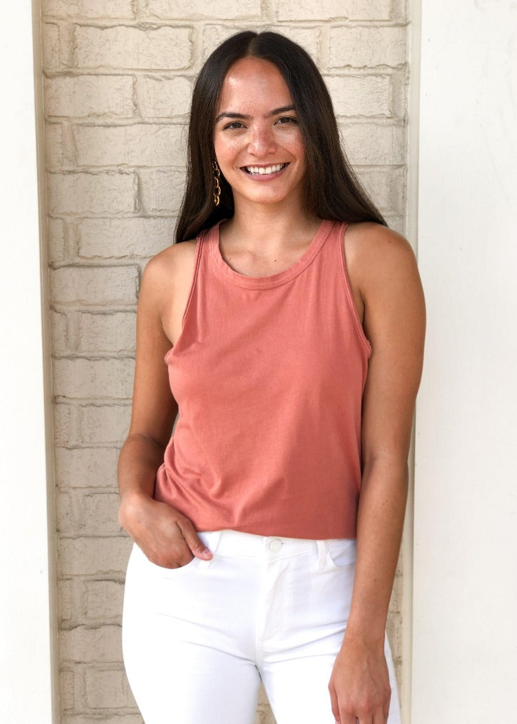 Z Supply Desert Sand Organic Cotton Muscle Tank-Hand In Pocket