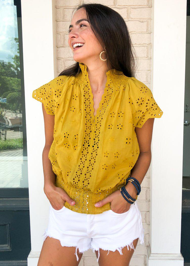Romantic Feelings Eyelet Blouse - Mustard-Hand In Pocket