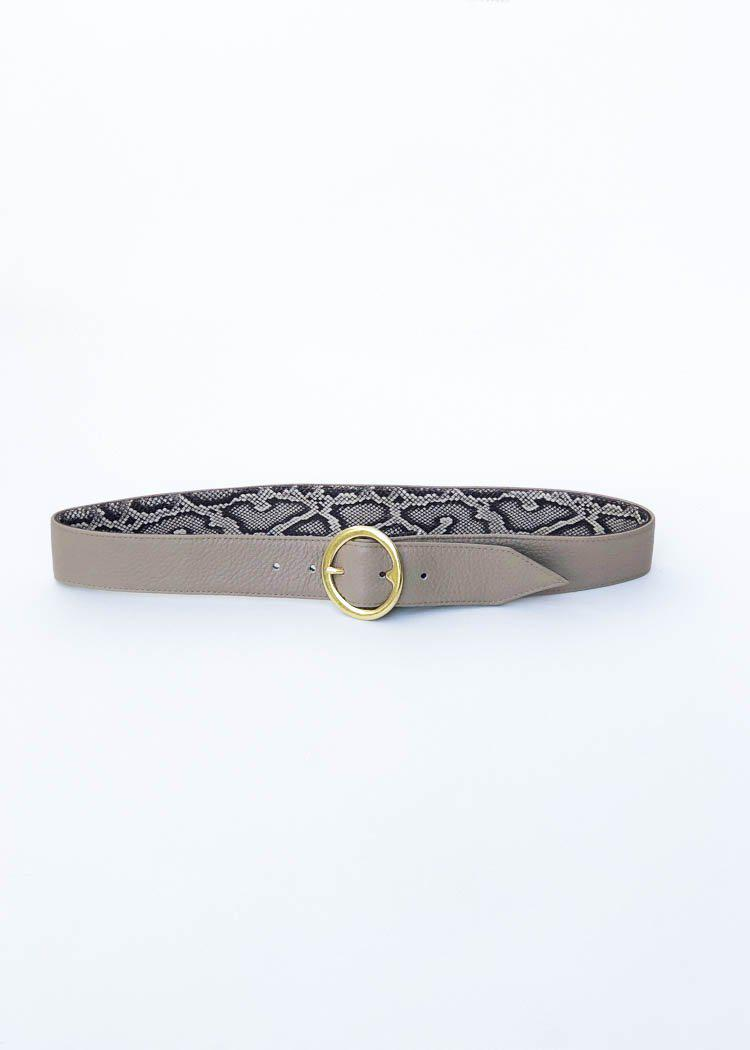 JJ Winters Lulu Reversible Leather Belt - Taupe/Beige Snake-Hand In Pocket