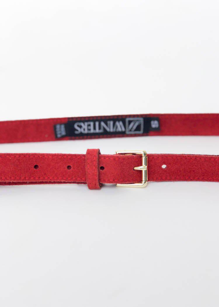 JJ Winters Abby Belt-Red Suede-Hand In Pocket