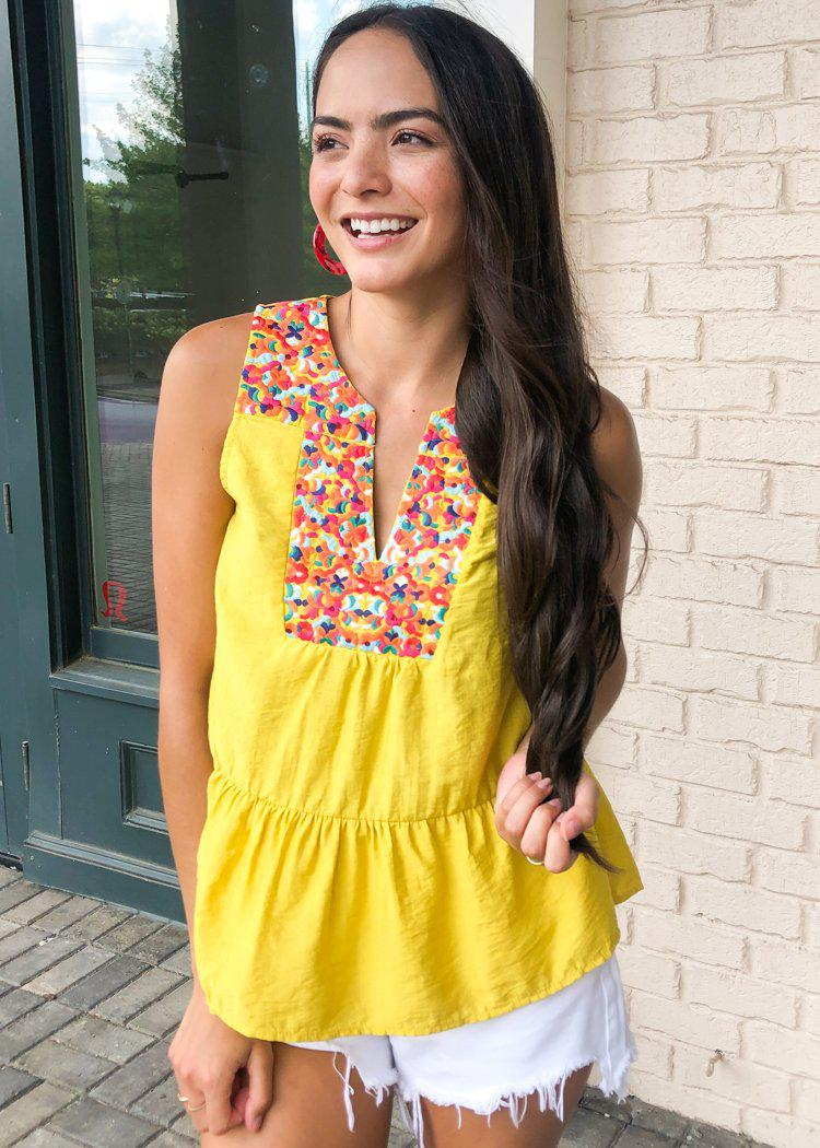 THML Barbados Embroidered Bib Top - Mustard-Hand In Pocket