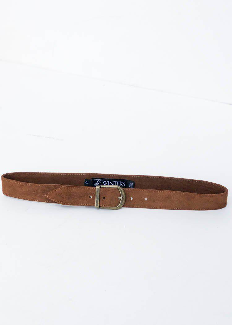 JJ Winters Kacey Suede Belt - Rust-Hand In Pocket