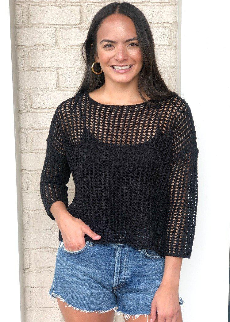 RD Style Crochet Black Pull-Over Sweater ***FINAL SALE***-Hand In Pocket