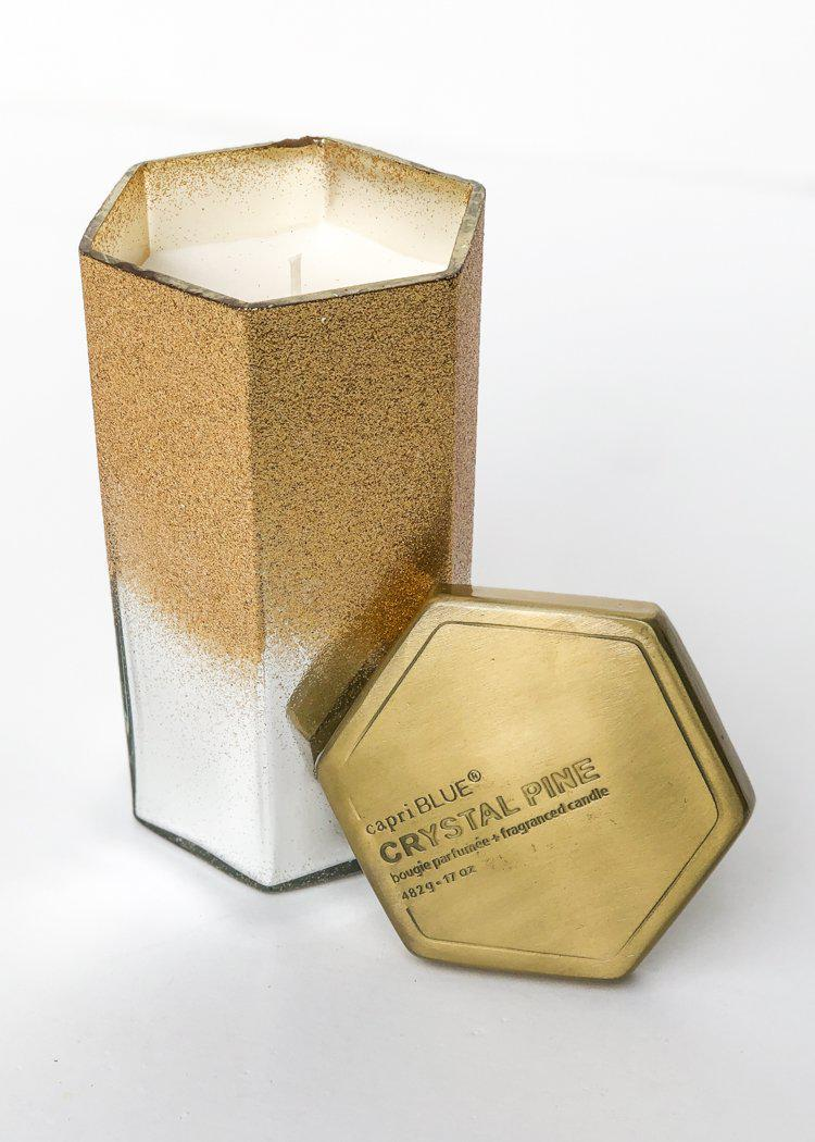Capri Blue Gold Glittered Ombre Hexagon 17 oz Candle - Crystal Pine-Hand In Pocket