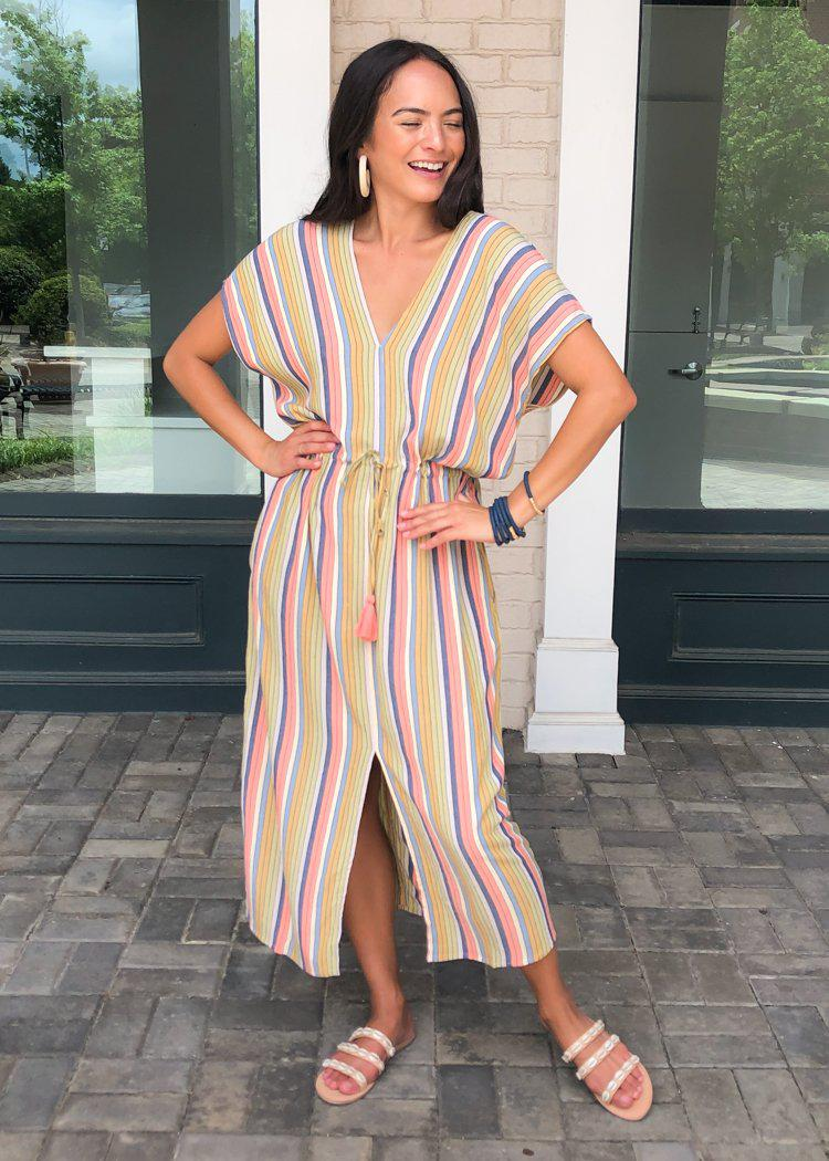 Cassis Striped Caftan ***PREORDER***-Hand In Pocket