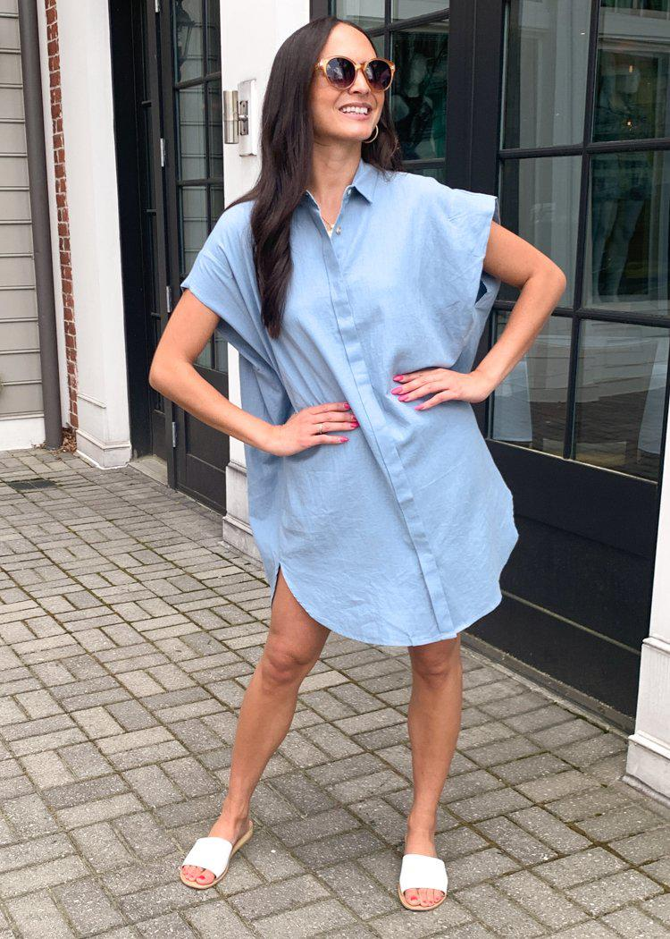 See U Soon Andres Slouchy Button Down Shirt Dress - Blue-Hand In Pocket