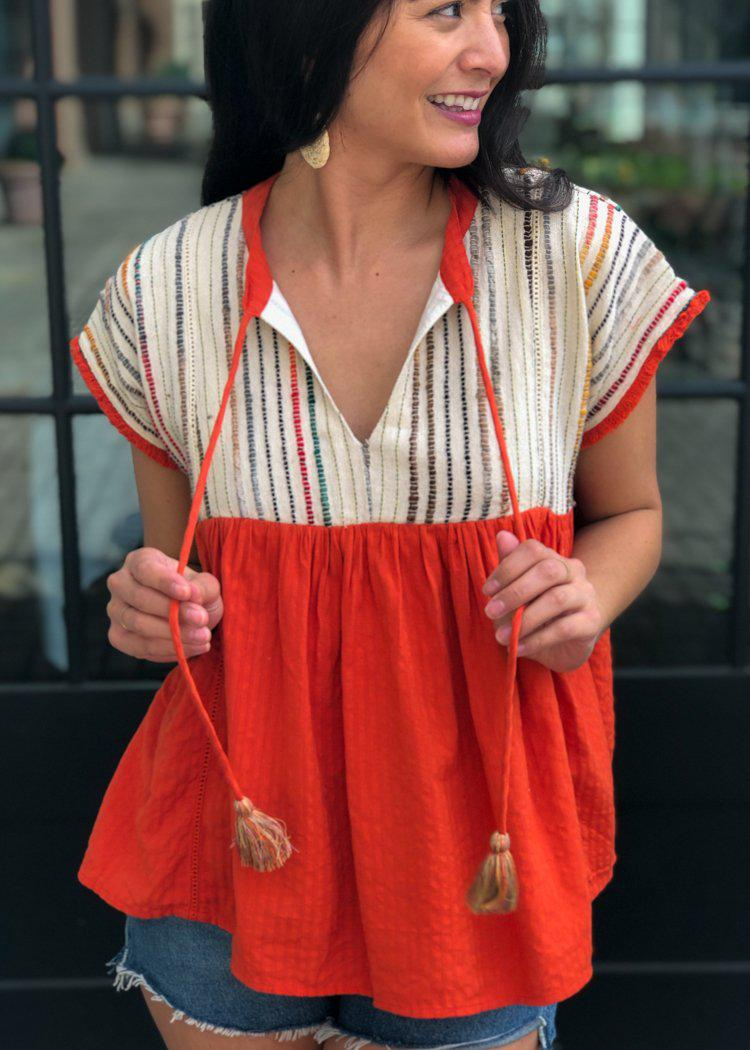 THML Clementine Embroidered Striped Tassel Top-Hand In Pocket