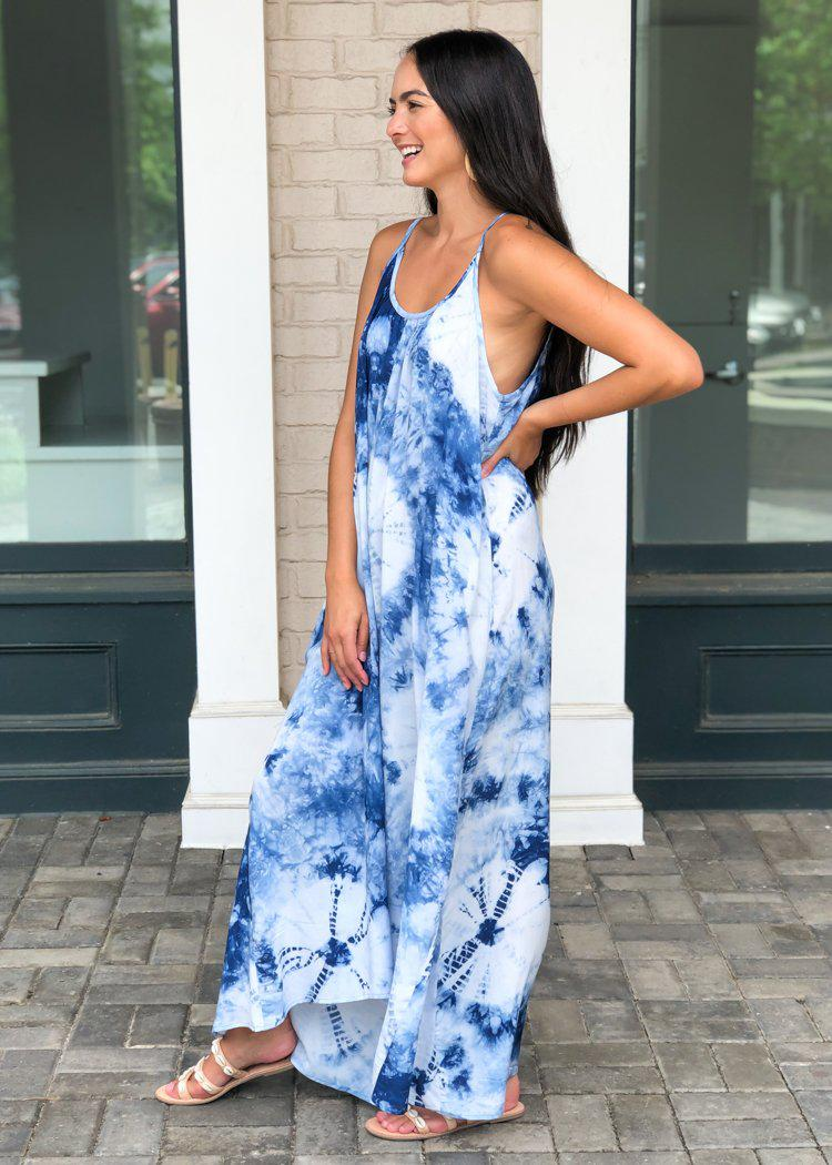 Tidal Hilo Tie Dye Maxi Dress - Blue-Hand In Pocket