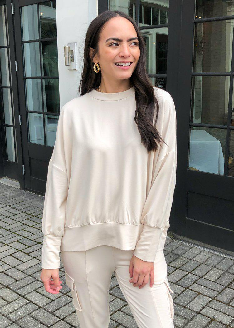 BB Dakota Big Idea Dolman Sleeve Sweatshirt-Ivory-Hand In Pocket