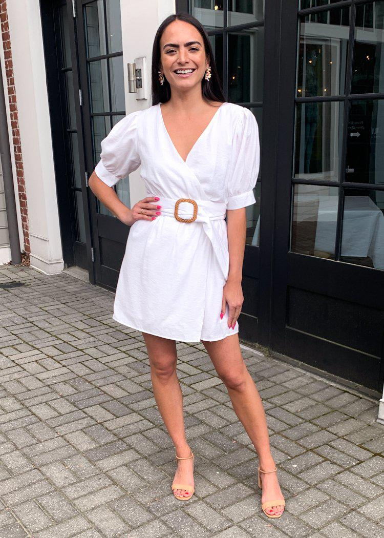 Carillon Puff Sleeve Belted Surplice Mini Dress - White-Hand In Pocket