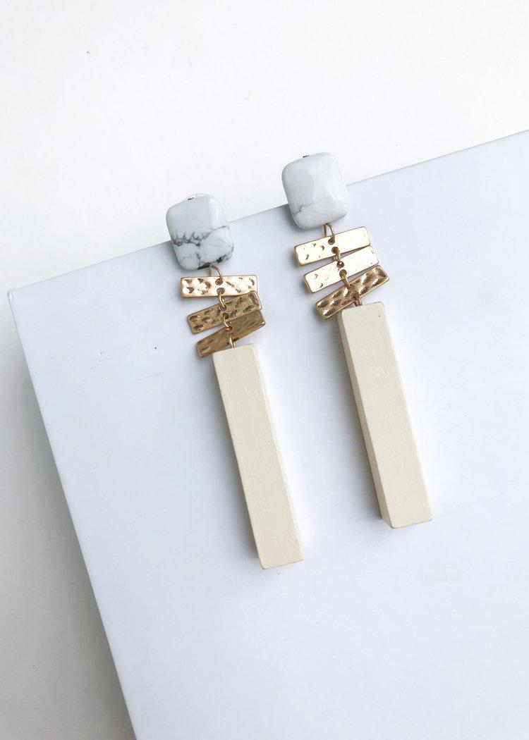 Belfast Stone and Wood Drop Earrings-Hand In Pocket