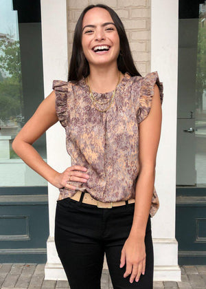 "Karlie ""Waterpond"" Ruffle Neck Blouse-Hand In Pocket"