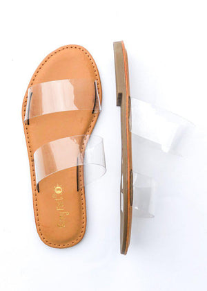 Waterfront Slides Clear Double Strap Sandal-Hand In Pocket