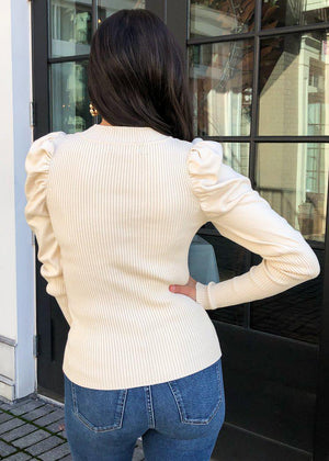 Brookhaven Puff Sleeve Sweater - Nautral-Hand In Pocket