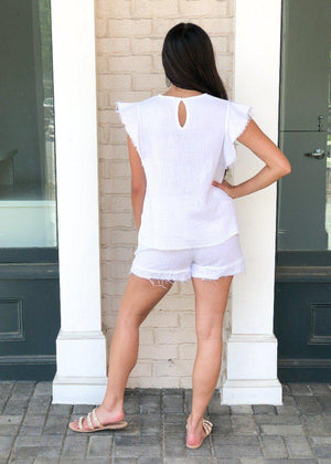 Stark X Frayed Hem Drawstring Shorts- White-***FINAL SALE***-Hand In Pocket