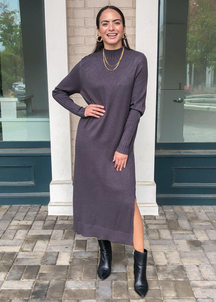 Vaughn Mock Neck Sweater Dress -Charcoal-***FINAL SALE***-Hand In Pocket