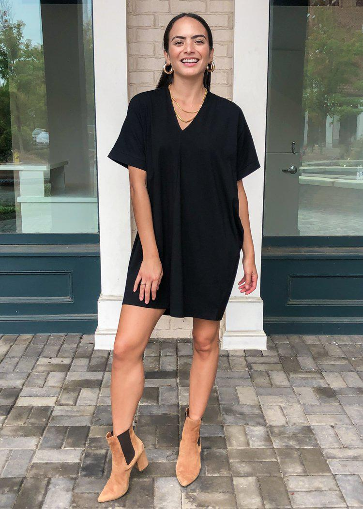 Karlie Staple V Neck Dress-Black-Hand In Pocket