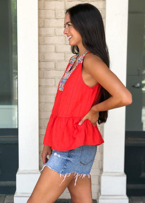 THML Barbados Embroidered Bib Top - Red-Hand In Pocket