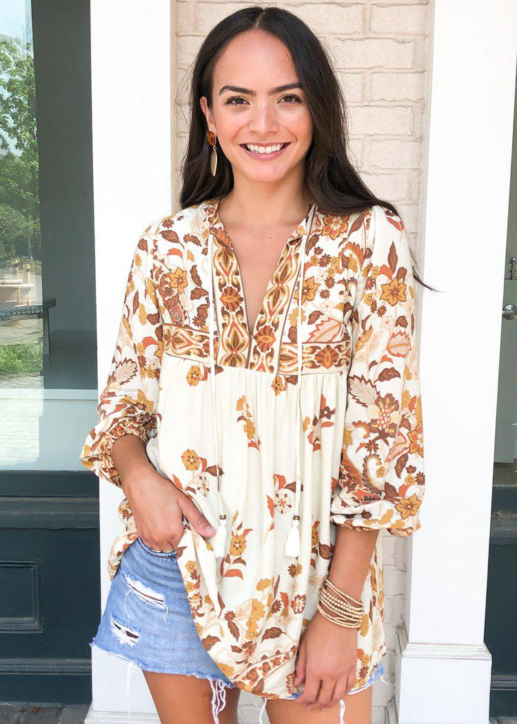 India Harvest Floral Print Blouse-Hand In Pocket